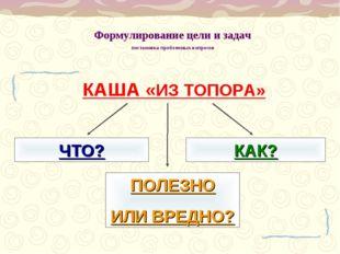Формулирование цели и задач постановка проблемных вопросов КАША «ИЗ ТОПОРА» Ч
