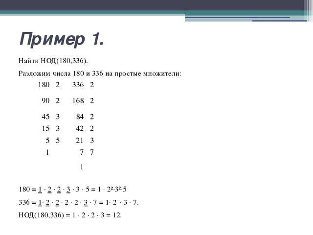 Пример 1. Найти НОД(180,336). Разложим числа 180 и 336 на простые множители:...
