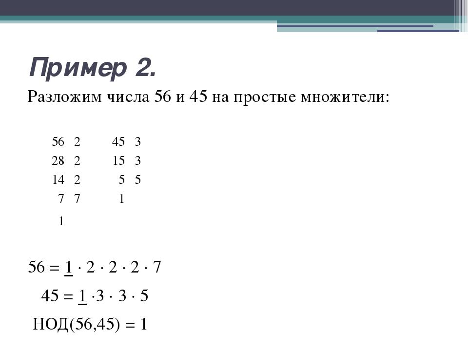 Пример 2. Разложим числа 56 и 45 на простые множители: 56 = 1 ∙ 2 ∙ 2 ∙ 2 ∙ 7...