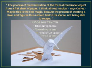 """""""The process of materialization of the three-dimensional object from a flat s"""