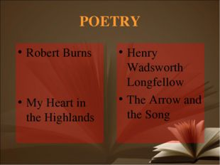 POETRY Robert Burns My Heart in the Highlands Henry Wadsworth Longfellow The