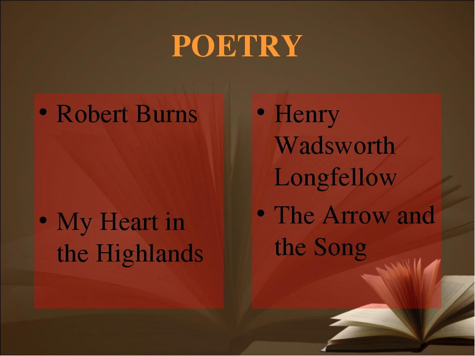 POETRY Robert Burns My Heart in the Highlands Henry Wadsworth Longfellow The...