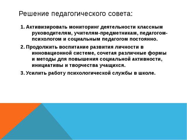 Решение педагогического совета: Активизировать мониторинг деятельности классн...