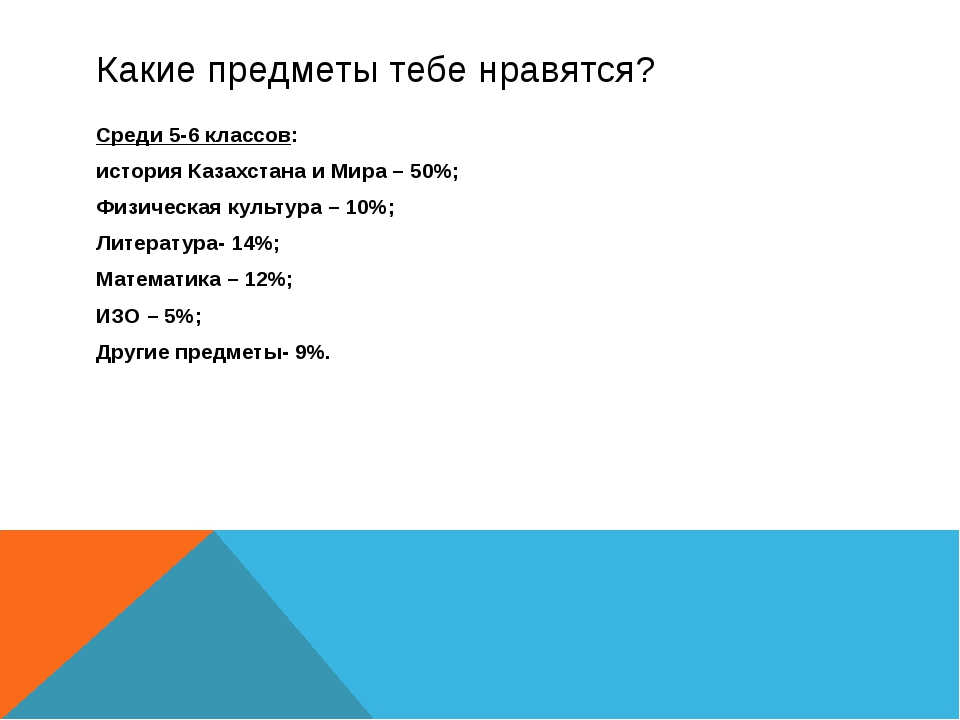 Какие предметы тебе нравятся? Среди 5-6 классов: история Казахстана и Мира –...
