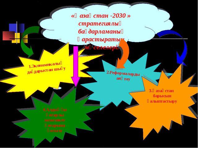 «Қазақстан -2030 » стратегиялық бағдарламаның қарастыратын мәселелері. 1.Экон...