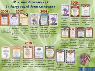 «Я и мои достижения во внеурочной деятельности» 2006 г Районный конкурс чтецо