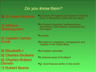 Do you know them? 1) Sir Isaac Newton 2) William Shakespeare 3) Captain Jame
