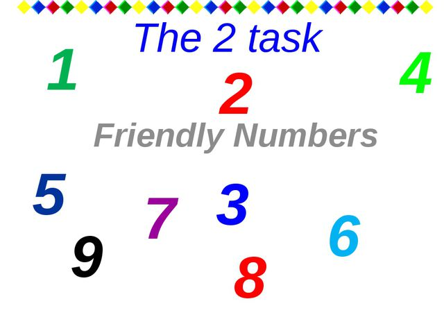 The 2 task Friendly Numbers 2 8 4 9 6 1 7 3 5