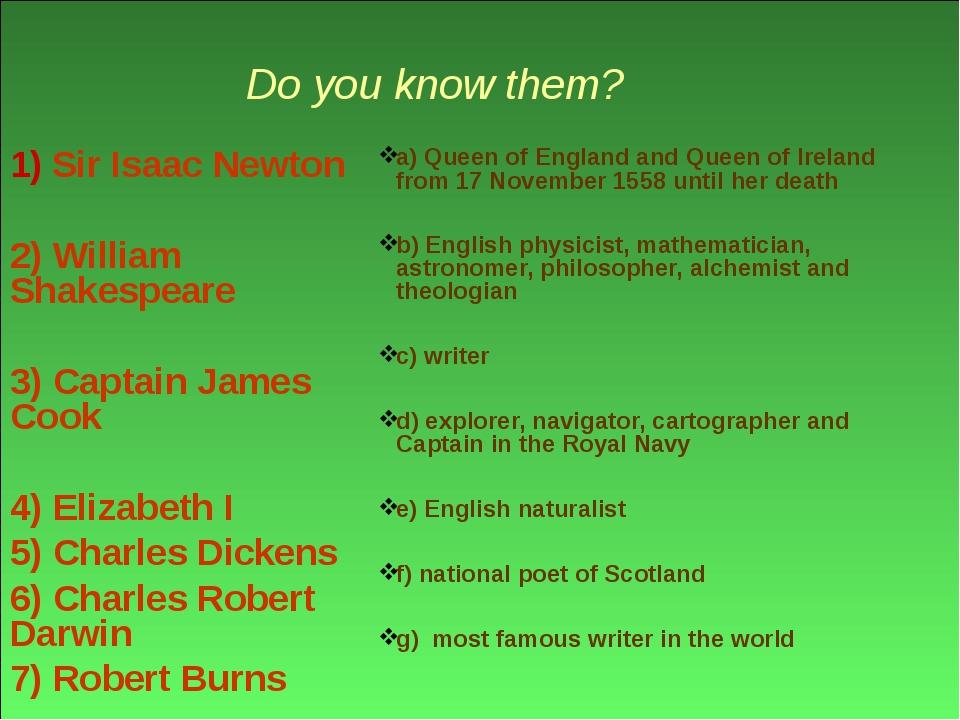 Do you know them? 1) Sir Isaac Newton 2) William Shakespeare 3) Captain Jame...