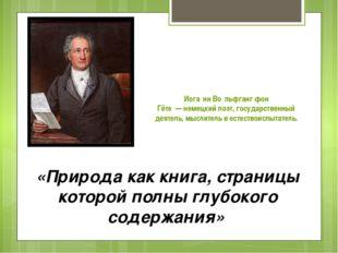 Иога́нн Во́льфганг фон Гёте—немецкийпоэт, государственный деятель, мыслит