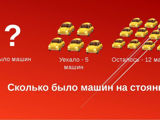 Уехало - 5 машин ? Было машин Осталось - 12 машин Сколько было машин на стоян...
