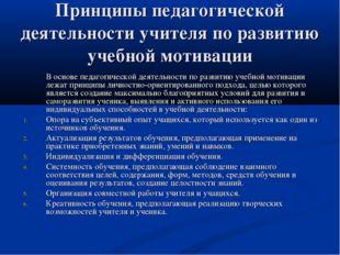Принципы педагогической деятельности учителя по развитию учебной мотивации В