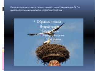 Свитое на крыше гнездо аистов, считается хорошей приметой для домочадцев. Люб