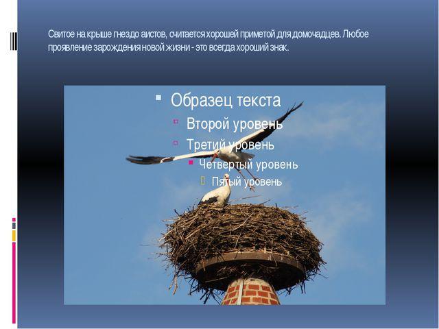Свитое на крыше гнездо аистов, считается хорошей приметой для домочадцев. Люб...