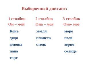 Выборочный диктант: 1 столбик 2 столбик 3 столбик Он – мой Она – моя Оно- моё