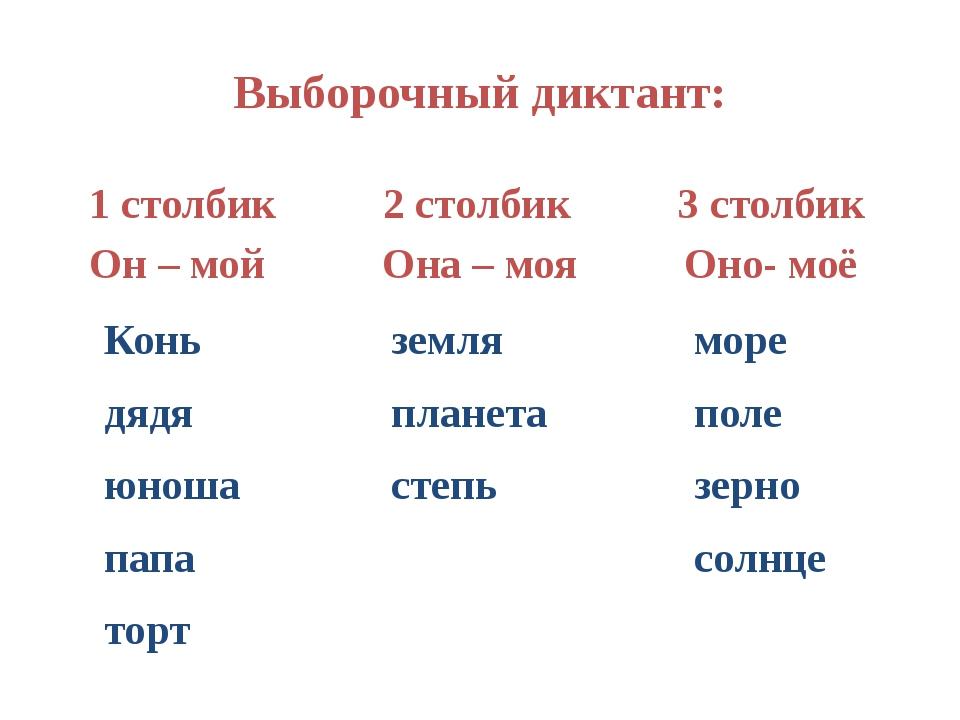 Выборочный диктант: 1 столбик 2 столбик 3 столбик Он – мой Она – моя Оно- моё...