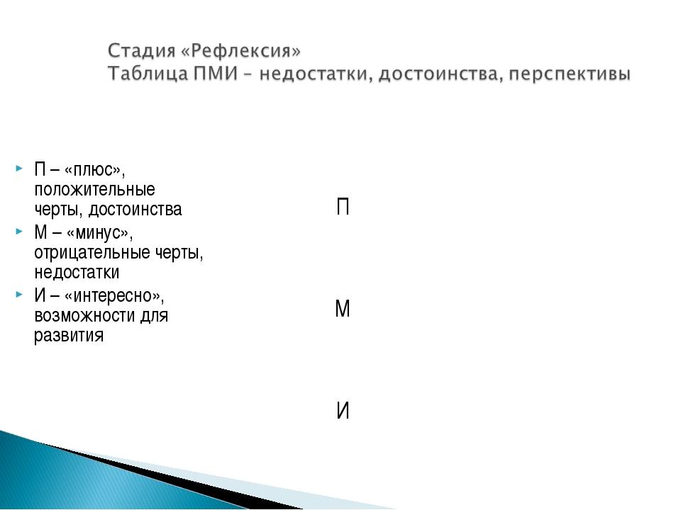 П – «плюс», положительные черты, достоинства М – «минус», отрицательные черты...