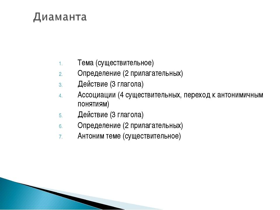 Тема (существительное) Определение (2 прилагательных) Действие (3 глагола) Ас...
