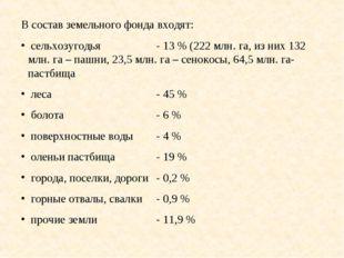 В состав земельного фонда входят: сельхозугодья- 13 % (222 млн. га, из них 1