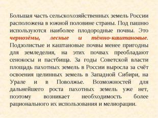 Большая часть сельскохозяйственных земель России расположена в южной половине