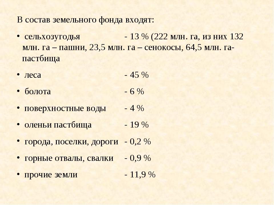 В состав земельного фонда входят: сельхозугодья- 13 % (222 млн. га, из них 1...