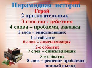 Пирамидная история Герой 2 прилагательных 3 глагола - действия 4 слова – проб
