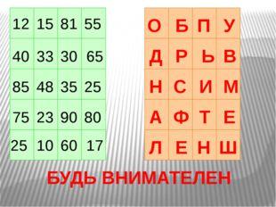 12 40 33 30 85 65 48 35 25 80 90 25 23 75 10 55 60 17 81 15 С Н Р В Ь Д Б У