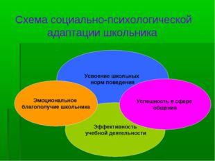 Схема социально-психологической адаптации школьника Усвоение школьных норм по