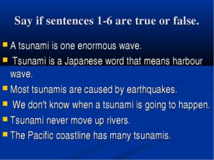 Say if sentences 1-6 are true or false. A tsunami is one enormous wave. Tsuna