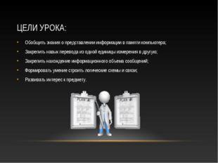 ЦЕЛИ УРОКА: Обобщить знания о представлении информации в памяти компьютера; З