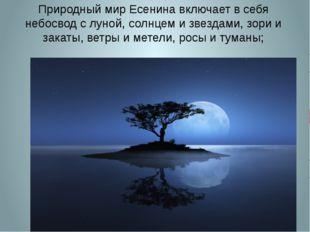 Природный мир Есенина включает в себя небосвод с луной, солнцем и звездами, з