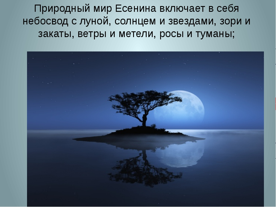 Природный мир Есенина включает в себя небосвод с луной, солнцем и звездами, з...