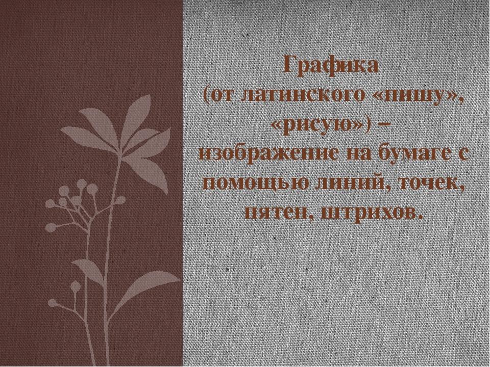 Графика (от латинского «пишу», «рисую») – изображение на бумаге с помощью лин...