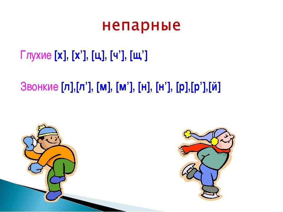 Глухие [х], [х'], [ц], [ч'], [щ'] Звонкие [л],[л'], [м], [м'], [н], [н'], [р]...