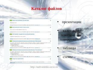 Каталог файлов http://nativanenko.ucoz.ru презентации календарно- тематическо