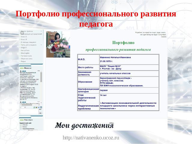 Портфолио профессионального развития педагога http://nativanenko.ucoz.ru http...