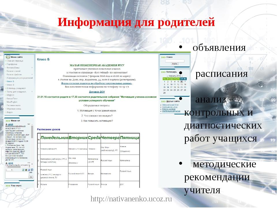 Информация для родителей http://nativanenko.ucoz.ru объявления расписания ана...
