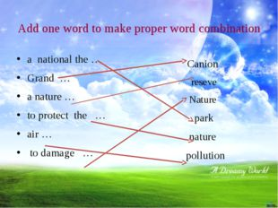 Add one word to make proper word combination a national the … Grand … a natur