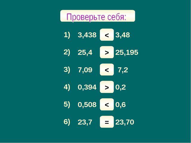 Сравните числа: 1) 3) 4) 5) 6) 2) 3,438 и 3,48 25,4 и 25,195 7,09 и 7,2 0,394...