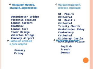 Названия мостов, станций, аэропортов: Westminster Bridge Victoria Station Lon