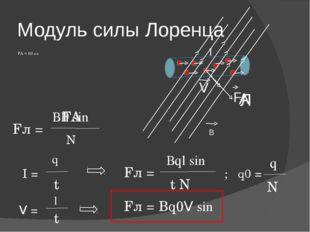 Модуль силы Лоренца FА = ВIl sinα F I В Л А ВIl sinα FА N Fл = V I = q Fл = t