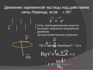 Движение заряженной частицы под действием силы Лоренца, если α = 90° V FЛ F ┴