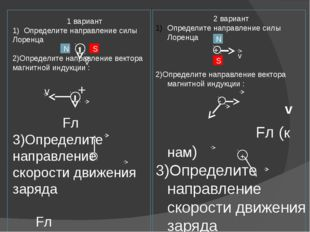 1 вариант 1) Определите направление силы Лоренца 2)Определите направление ве