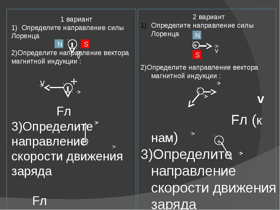 1 вариант 1) Определите направление силы Лоренца 2)Определите направление ве...
