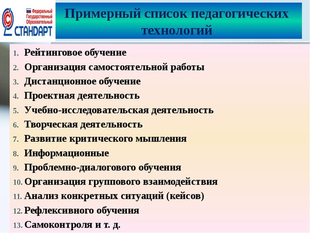 Примерный список педагогических технологий Рейтинговое обучение Организация с...