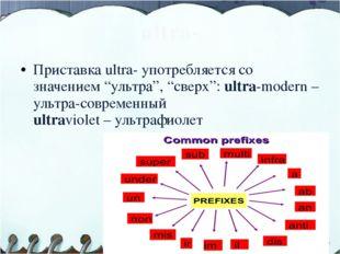 """ultra- Приставка ultra- употребляется со значением """"ультра"""", """"сверх"""": ultra-m"""