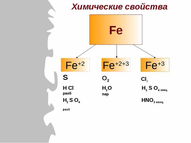 Fe Fe+2 Fe+2+3 Fe+3 S H Cl разб H2 S O4 разб O2 H2O пар Cl2 H2 S O4 конц HNO3...