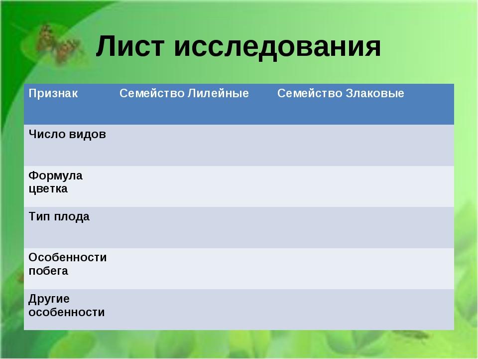 Лист исследования ПризнакСемейство ЛилейныеСемейство Злаковые Число видов...