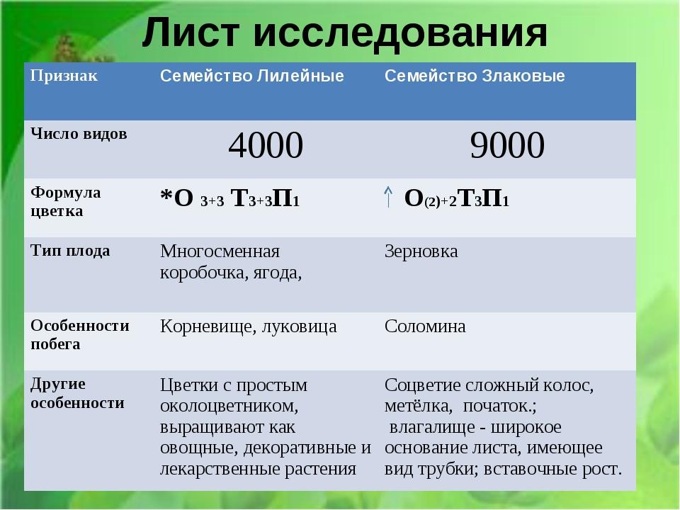 Лист исследования ПризнакСемейство ЛилейныеСемейство Злаковые Число видов4...