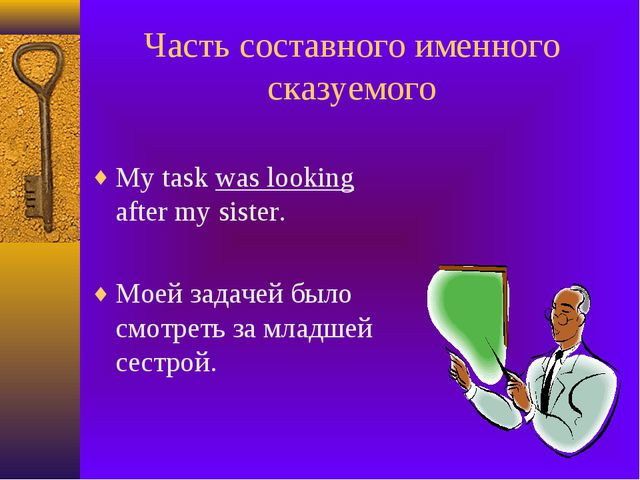 Часть составного именного сказуемого My task was looking after my sister. Мое...
